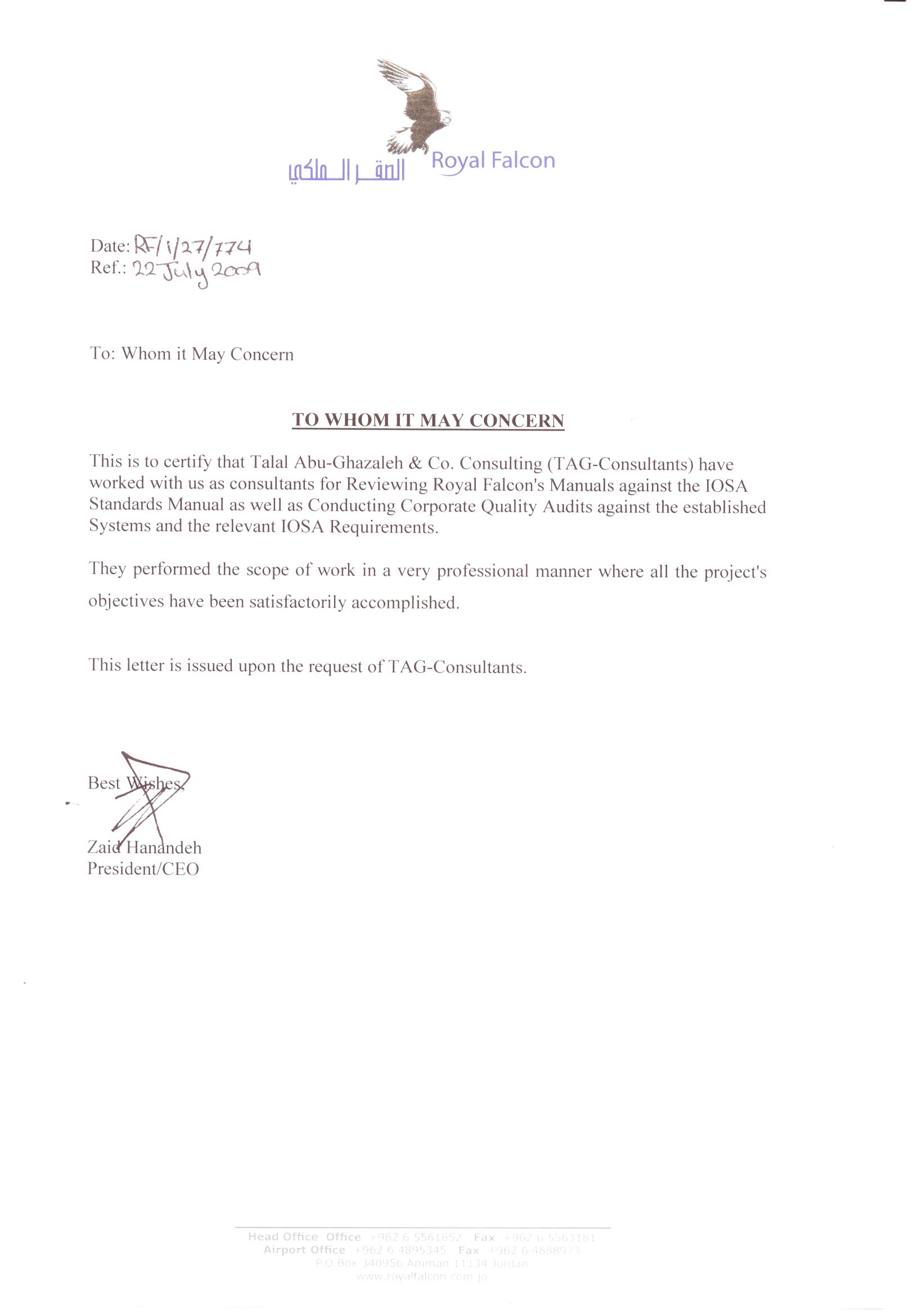 talal abu ghazaleh cambridge information technology skills center thank you letter from mr zaid hanandeh managing director ceo royal falcon aviation to talal abu ghazaleh and co consulting